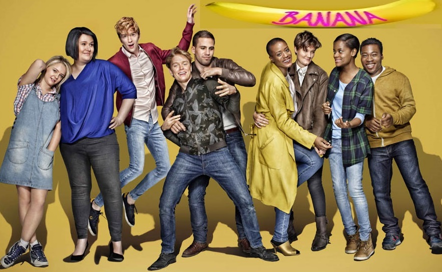L- R Georgia Henshaw as Sian, Bethany Black as Helen, Luke Newberry as Josh, Freddie Fox as Freddiw, Dino Fetscher as Aiden, T'Nia Miller as Kay, Charlie Covell as Amy, Letitia Wright as Scottie and Fisayo Akinade as Dean